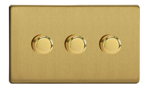 Varilight JDBDP303S Screwless Brushed Brass 3 Gang 2-Way Push On/Off LED Dimmer 0-120W V-Pro